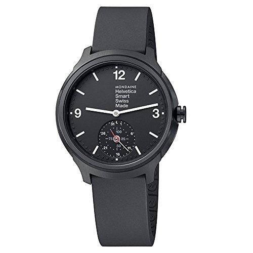 Mondaine-Unisex-Armbanduhr-Helvetica-Smart-44mm-Analog-Quarz