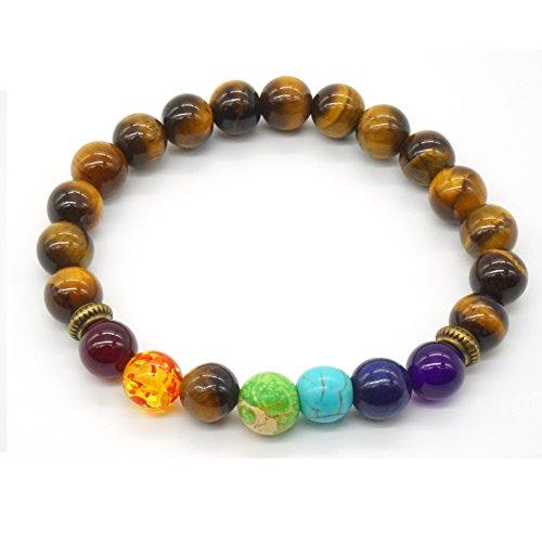 Damen Herren Armreif, Yoga-Armband Zen-Buddhismus Mala Tiger Augen Stein Armband Reiki-Energietherapie 7 Chakra Healing