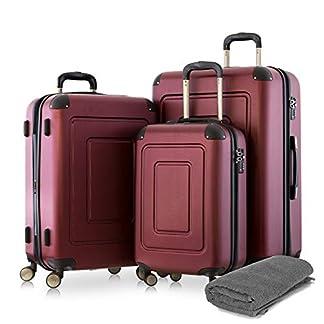 Happy-Trolley-3er-Koffer-Set-Trolley-Set-Rollkoffer-Hartschalen-Koffer-Reisekoffer-Lugano-sehr-leicht-TSA-S-M-XL-Burgund-Badehandtuch