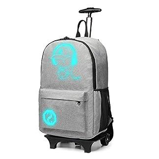 Kono-Handgepck-Rucksack-Tasche-mit-Rollen-Business-Trolley-Reisetasche-fr-Laptop-Polyester-Schwarz