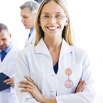 Krankenschwester-Uhr-Set-Bltenblatt-Dehnbare-Weiss-schwarz-Krankenschwesteruhr-Analog-digital-Schwesternuhren-Silikon-FOB-Ansteckuhr-Set-fr-Damen-Frauen