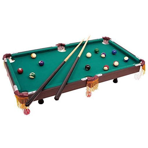 Billardtisch-mit-Zubehr-zwei-hlzerne-Queues-Blle-Triangel-und-Kreide-Tischbillard-im-klassischen-Design-ab-3-Jahre