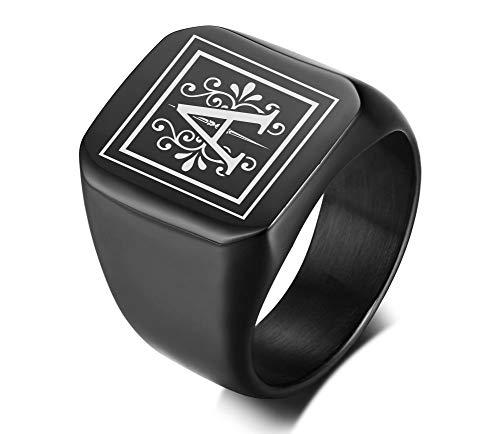 Vnox Männer Monogramm Name Ring Siegelring College Ring Initialen Ring Männer Initial Band Mens Kreis Brief Ring,Geschenk für ihn
