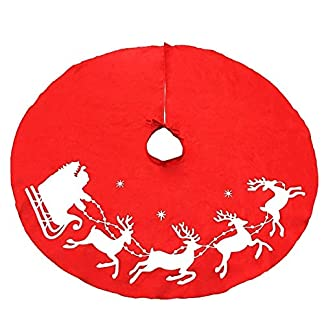 ZHAOLV-Reizendes-rotes-Weihnachtsbaum-Rock-Schlitten-Ren-und-Schneeflocken-100cm-395inch-Abdeckungs-Unterseiten-Dekoration-Weihnachtsbaum-Abdeckungs-Dekor
