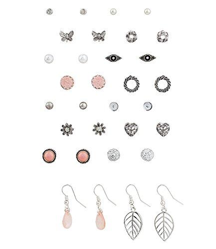 """SIX """"Basic"""" Damen Ohrring, 16 Ohrstecker in einem Set, silber, rosa, weiße Perlen, Blumen, Schmetterlinge Weihnachtsgeschenk (455-541)"""