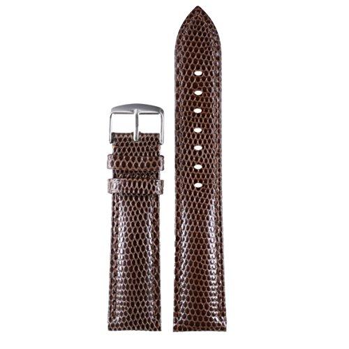 20mm-dunkelbraun-Premium-khl-Uhrarmbnder-Ersetzungen-eidechsen-genarbtem-Kalbsleder-leicht-gepolstert
