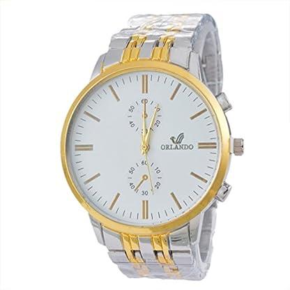 MJARTORIA-Herren-Wei-Farbe-Armbanduhr-EdelEdelstahl-Besondere-Zifferblatt-Quarz-Uhr-Analog-Armreif-Uhr