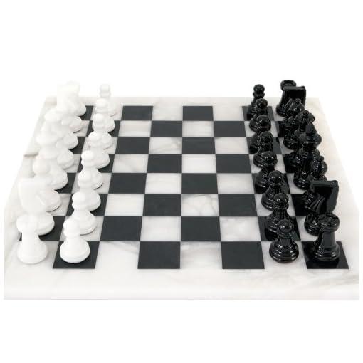 Schwarz-und-wei-Alabaster-Schach-Set-368cm