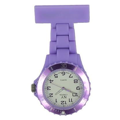 Prince-London-New-York-gummierter-Kunststoff-Schwesternuhr-Uhr-mit-Stift-Licht-lila-mit-weien-Ziffernblatt