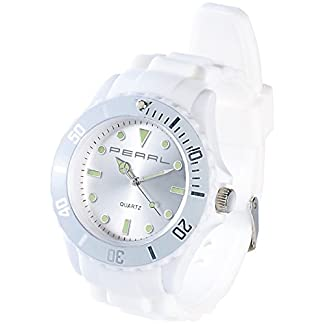 PEARL-nc-7326–675-nc7326–944–Armbanduhr-Armband-Silikon-Farbe-wei