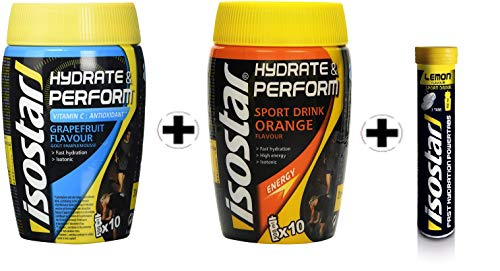 3er Angebotspack Isostar Hydrate & Perform Grapefruit – Orange – Pulver + Iso Powertabs Zitrone 10x12g – Zitrone