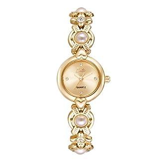 Barbie-Uhr-Quarz-Damen-Armband-Kette-Verziert-mit-Knstlichen-Perlen