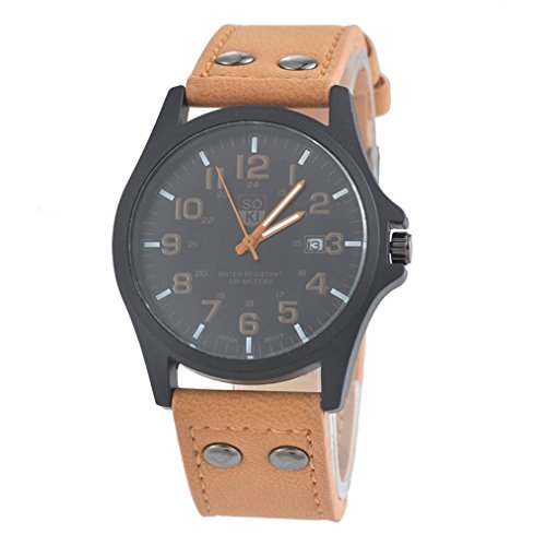 MJARTORIA-Herren-Braun-Kunstleder-Armbanduhr-Herrenuhr-mit-Datum-Uhr