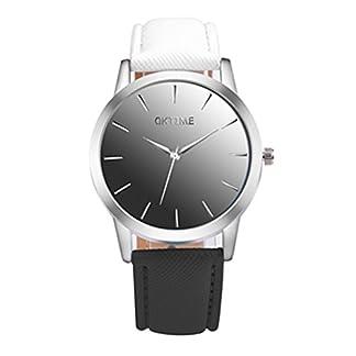 Souarts-Damen-Armbanduhr-Farbverlauf-Einfach-Stil-Analoge-Quary-Uhr-24cm-Wei-Schwarz-Farbverlauf