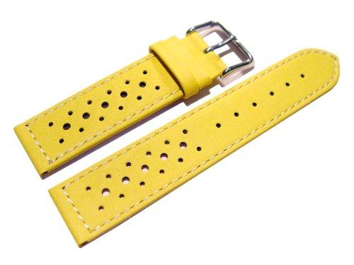 Uhrenarmband-Watchband-Berlin-echtes-Leder-Race-Rally-Style-gelb-weie-Naht-18mm