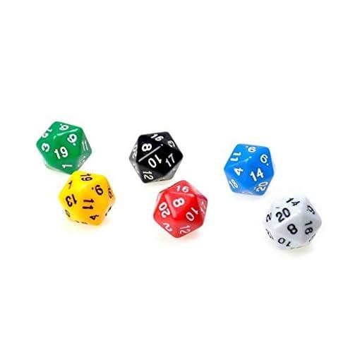 6-Stck-D20-Gaming-Wrfel-Zwanzig-Seitigen-Wrfel-Rpg-D-D-Sechs-Opaken-Farben
