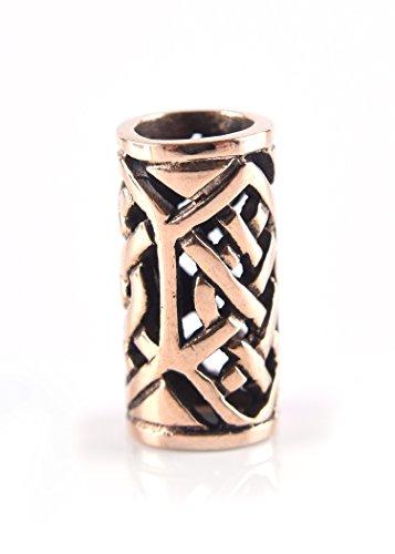Bartperle Wikinger / Perle für Dreadlocks 5mm Innendurchmesser aus Bronze mit Zopfmuster