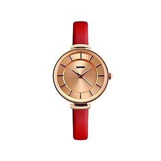 iLove-EU-Damen-Armbanduhr-Elegant-30m-Wasserdicht-Analog-Quarz-Uhr-mit-Gold-Zifferblatt-und-Rot-Leder-Armband