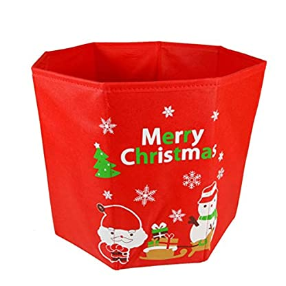 BESTOYARD-Christbaumstnder-Box-Weihnachtsbaum-Rock-Weihnachtsman-Muster-Tannenbaum-Unterlage-Weihnachten-Deko-Rot