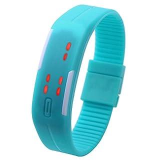 JSDDE-UhrenTouch-Screen-LED-Digital-Uhr-Quarzuhr-Sportuhr-Silikon-Herren-Damen-ArmbanduhrHimmelblau