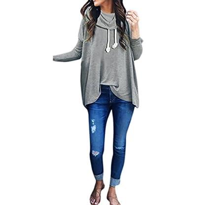 Damen-Sweatshirt-Langarm-Mumuj-Fashion-Mdchen-Bow-Hals-Einfarbig-Kapuzenpullis-irregulr-Tops-Bluse-Festliche-Cocktailparty-Streetwear-Longpullover-Overall