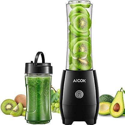Aicok-Mixer-Smoothie-Maker-2-BPA-freie-Tritan-Kunststoff-Sport-Flasche-und-2-Deckel-600ml-und-330ml-300W-Mix-Go-Mini-Standmixer-Edelstahl-4-Blatt-fr-Shakes-und-Smoothies
