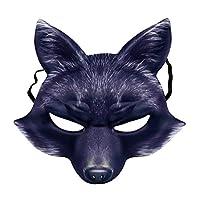 Amosfun-Fuchs-Maske-Halbes-Gesicht-Tier-Maske-Fuchs-Cosplay-Maske-Halloween-Cosplay-Kostm-Zubehr-fr-Halloween-Karneval-Maskerade-Party-Supplies