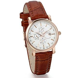 JewelryWe-Damen-Freundschafts-Armbanduhr-Business-Casual-Kalender-Analog-Quarz-Uhr-fr-Lieben-Valentinstag-Paar-Paare-Geschenk-Braun-Leder-Armband-Rose-Gold-Uhrgehuse