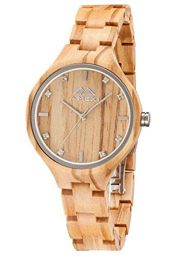 Amexi-Holzuhren-Damen-Frauen-Uhr-Holz-Armbanduhr-mit-verstellbarem-Mini-Armband-und-Quarzwerk
