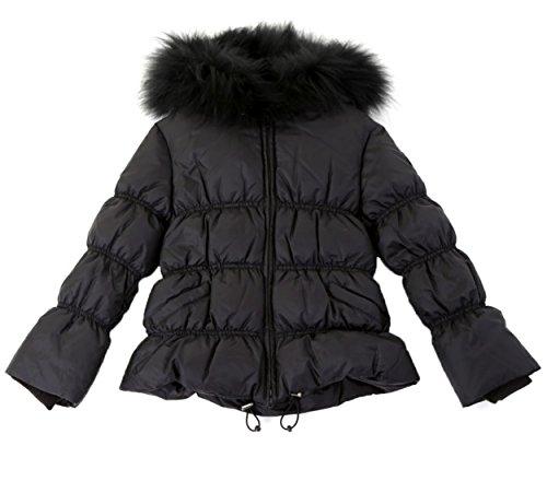John Richmond Jr Mädchen Daunenjacke mit Fellkapuze Kapuzen Winterjacke für Mädchen