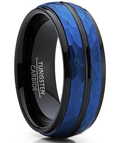 Ultimate Metals Co. Herren schwarz und blau wolframcarbid verlobungsring und ehering gebürstet.8mm Bequemlichkeit Passen