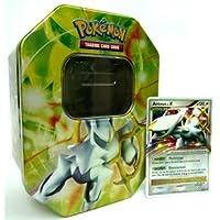 Pokemon-Platin-04-Arceus-LVX-grn-Tin-leere-Dose-zum-Aufbewahren-von-Sammelkarten-3-x-Pokemon-Glitzerkarten