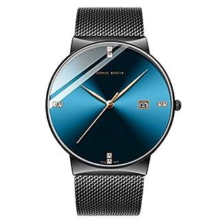 HANNAH-MARTIN-Herrenuhr-TiefblauSchwarz-Ultradnne-Armbanduhren-fr-Herren-Mode-Wasserdichtes-Kleid-Edelstahlgewebe-Band