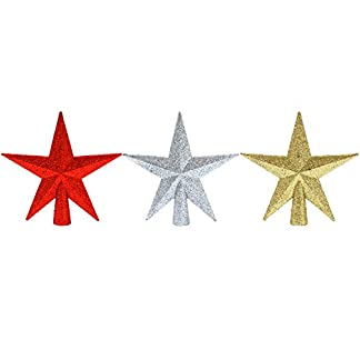 Aneco-3-Stck-102-cm-glitzernde-Mini-Stern-Christbaumspitze-Stern-Baumspitze-fr-kleine-Christbaumschmuck-gold-silber-und-rot