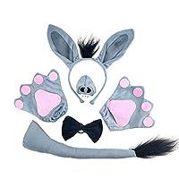 BESTOYARD-5-stcke-Kinder-Esel-Kostm-Set-Tierohren-Stirnband-Krawatte-Nase-Schwanz-Handschuhe-Cosplay-Zubehr-fr-Leistung-Kostm-Maskerade-Party