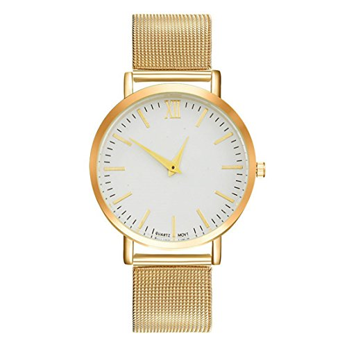 Homim-Damen-Armbanduhr-Frauen-Analog-Quarzuhr-Gold-Farbe-Mesh-Edelstahl-Armband-Weiss-Zifferblatt-Batterie-Uhrwerk