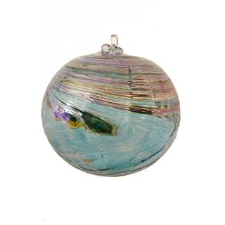 Kugel-zum-hngen-bunte-Glaskugel-trkis-bunt-marmoriert-mundgeblasenes-Kristallglas-Durchmesser-ca-9-cm-Oberstdorfer-Glashtte