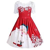 Luckycat-Damen-Vintage-Spitze-Kurzarm-Print-Weihnachten-Party-Swing-Dress-Abendkleider-Cocktailkleid-Partykleider-Blusenkleid-Mode-2018