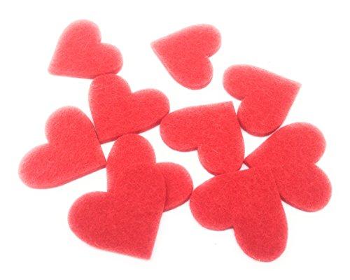 Set Herzen aus Filz -Filzherz als Streugut für Valentinstag, Hochzeiten, Liebe, Love, Verlobung, Hochzeit. Aus 100 % Design Woll Filz – Inhalt: (50 Stück, rot)