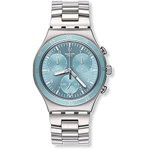 Swatch-Damen-Chronograph-Quarz-Uhr-mit-Edelstahl-Armband-YCS589G