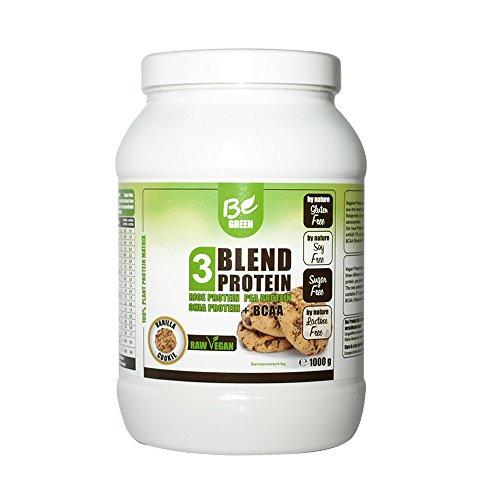 BeGreen Blend Vegan Protein – Erbsenprotein, Reisprotein und Chiaprotein – Be Green – 1000g (Vanille-Cookie)