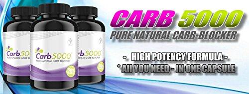 Carb5000 | 90 Kapseln Hochdosiert | Natürlicher Carb-Kohlenhydrat-Blocker | Phaseolin, White Kindey Bean Extrakt (Kidneybohnen) | Premium Qualität