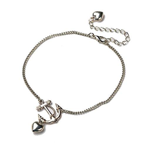 verstellbares Fußkettchen mit Herz Anker Anhänger in Silber Fusskette Karabinerverschluss Barfuß Metalllegierung für Damen Mädchen und Frauen