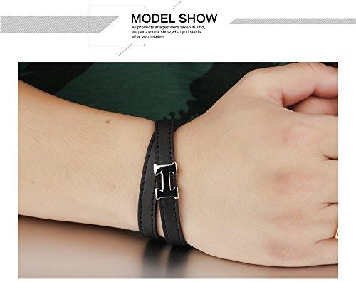 iLove EU Edelstahl Leder Armband Armreif Wickelarmband Silber Schwarz H Buchstabe Design Gürtel Schnalle Herren