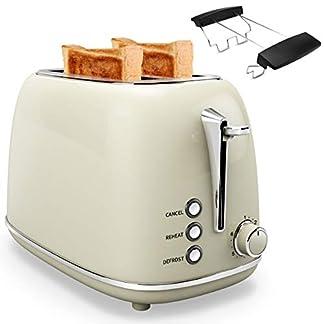 2-Scheiben-Toaster-Edelstahl-mit-Brtchenaufsatz-Doppelschlitz-6-Brunungsstufen-Krmelschublade-Auftauen-Warmlaufstoppfunktion-800W-Beige