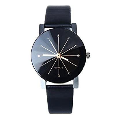 Bessky-Damen-Armbanduhr-1PC-Frauen-Quarz-Dial-Uhr-Leder-Armbanduhr-Runde-Sache