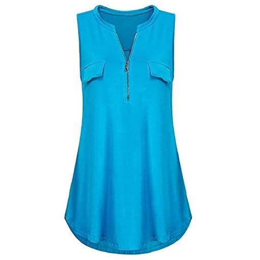 Rovinci-Damen-Sommer-Bluse-rmellos-V-Ausschnitt-Reiverschluss-Vorne-Tanktop-Streifen-Drucken-Tank-Tops-T-Shirt-Einfarbig-Weste-Top-Hemdbluse-Longshirt-Oberteile
