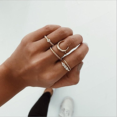 Yesiidor 5pcs Vintage Midi Ringe Fingerring-Set für Damen Nagel Finger Band Gold