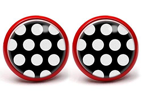 """LA FABA""""Polka Dots"""" Ohrstecker Polka Punkte weiß auf schwarz mit extra großen Punkten, Ohrringe gepunktet, Ø 14 mm Durchmesser, Rockabilly Schmuck in Schmuckschachtel Etui (PP WaufS gr)"""