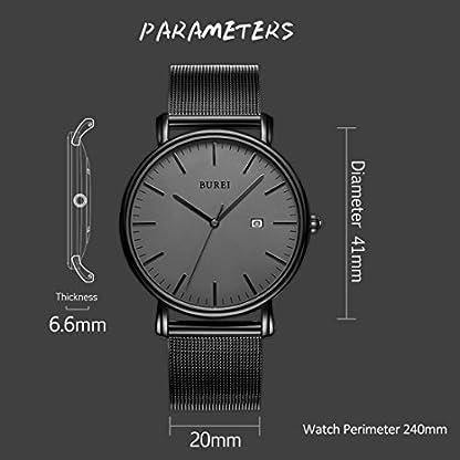 BUREI-Herren-Uhren-Ultra-Dnne-Schwarze-Minimalistische-Quartz-mit-Datumsanzeige-und-Milanese-Armband